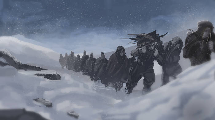 An image of a group of elves going in a single line on the mountains through a heavy snow storm